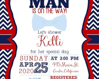 A Little Man is on the Way Baby Shower Invitation