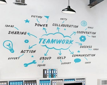 Business Motivation Stickers,Gift,Window Sticker,Handmade2115 Office Quote Teamwork Office Decoration Wall Decal Idea