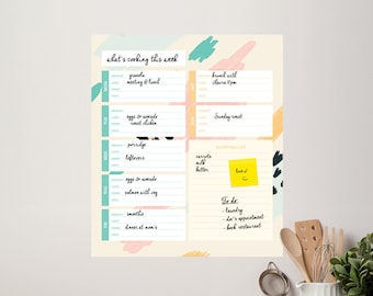Weekly Menu Whiteboard - Kitchen Meal Planner - Fridge Meal Planner - Kitchen Wall Decal