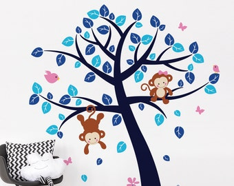 Children Monkey Tree Wall Decal - Nursery Tree And Cheeky Monkeys Wall Sticker - Jungle Animals in Tree Wall Decal