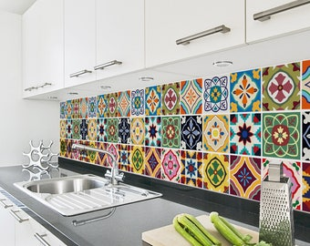 Talavera Tile Decals   Tile Stickers Set   Talavera Traditional Tiles Kit    Tiles For Kitchen   Kitchen Backsplash   PACK OF 24