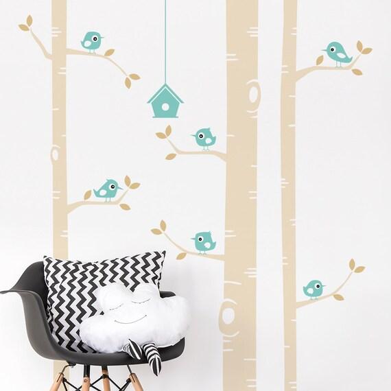 Birke und Vögel Wand Sticker - Kinderzimmer-Wandtattoo - Baum Zweige  Vogelhaus Wandaufkleber