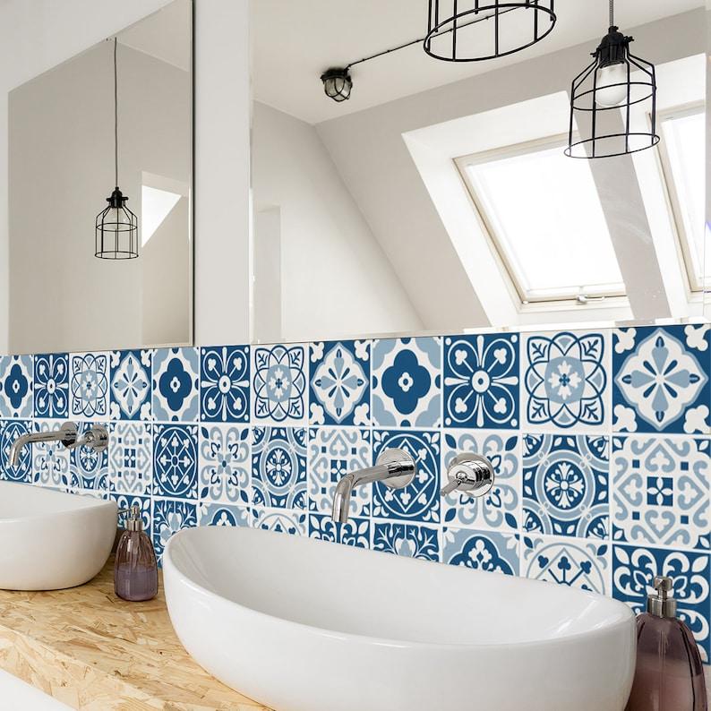 Carreaux bleu marocain - mur - escalier - Stickers carrelage - amovible  cuisine salle de bain sticker - PACK de 24