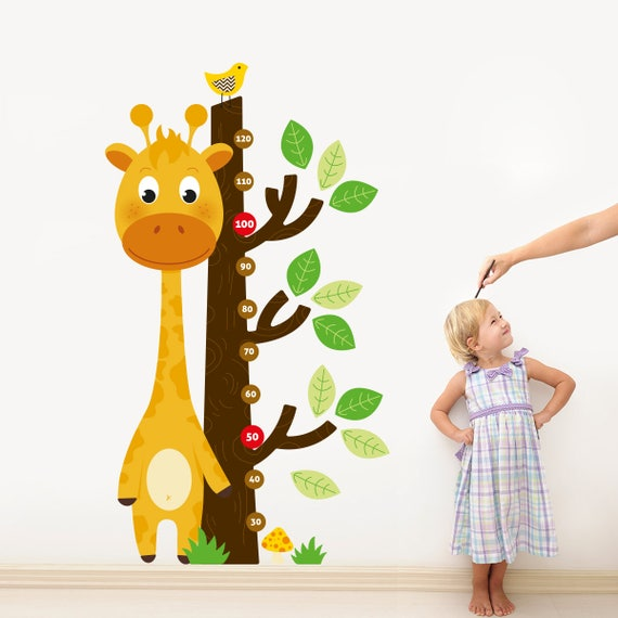 giraffe growth chart wall decal sticker set height chart boy | etsy