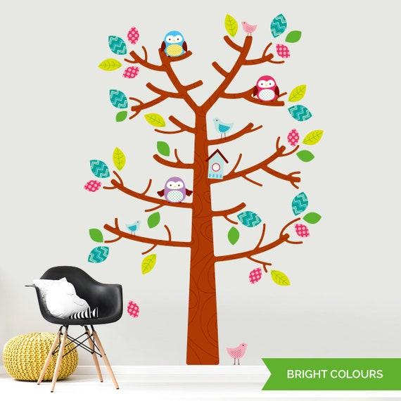Wald-Baum und Eulen Wandtattoo - Wandtattoo Kinder - bunte Baum und Blätter  Kinderzimmer Aufkleber - abnehmbare gedruckte Wand Vinyl