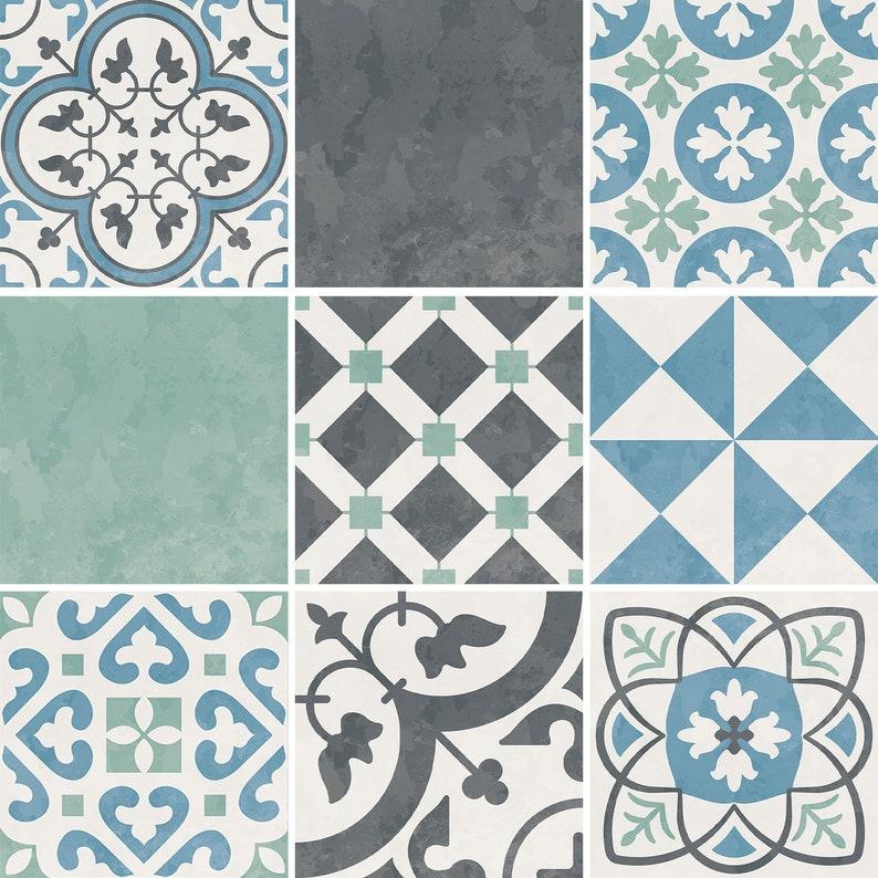 Peel and Stick Decal Portuguese Pastel Vinyl Floor Tile Sticker Panel Carreaux Vinyl Floor Tile Sticker Floor decals