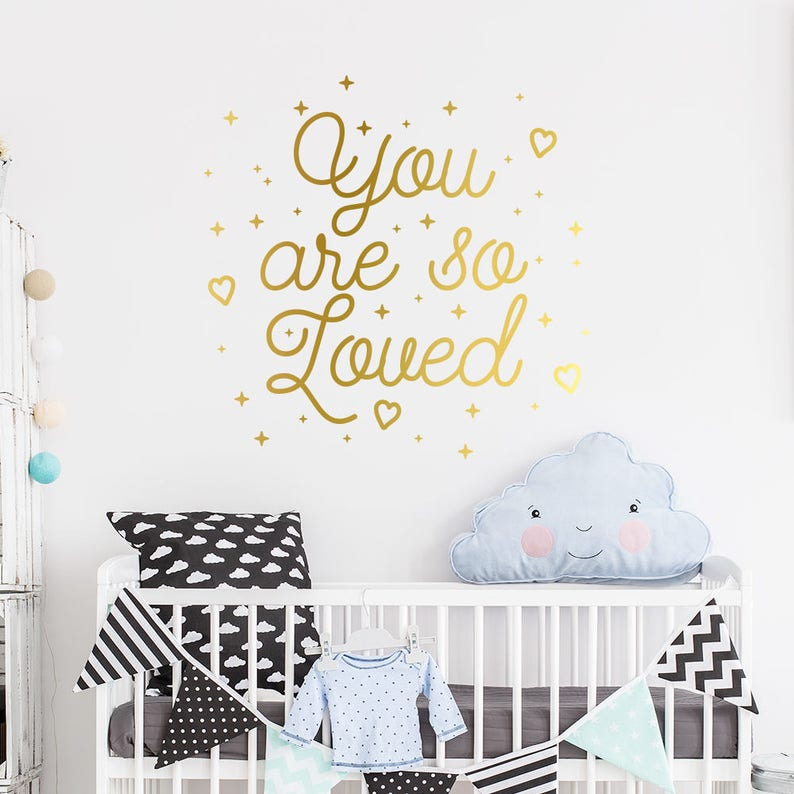 you are so loved wall decal gold wall sticker nursery | etsy