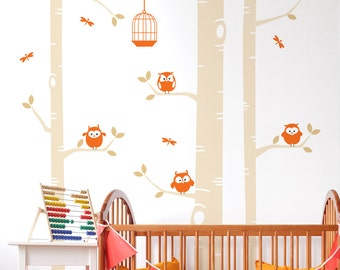 Birch Tree And Owls Wall Sticker - Nursery Wall Decal - Dragonflies Birdcage Wall Sticker
