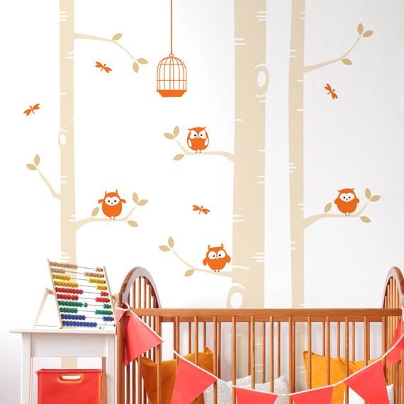 Birke Baum und Eulen Wand Aufkleber - Kinderzimmer-Wandtattoo - Libellen  Vogelkäfig Wandtattoo