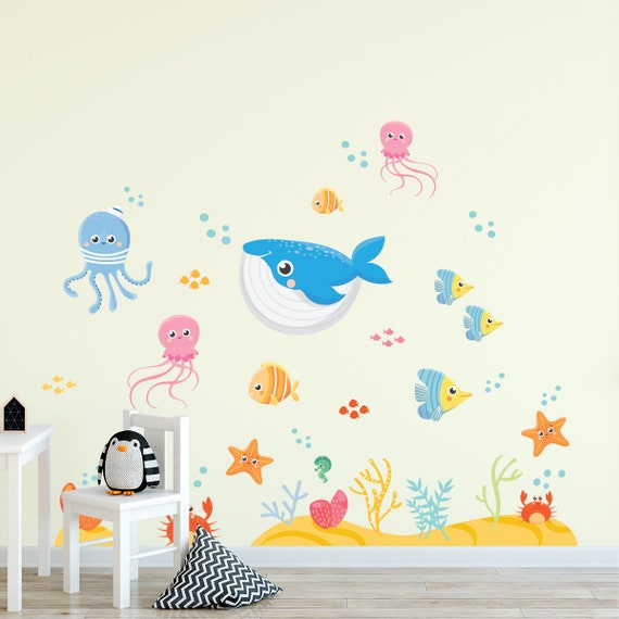 Under The Sea Wall Decal Fishes And Whale Ocean Wall Etsy