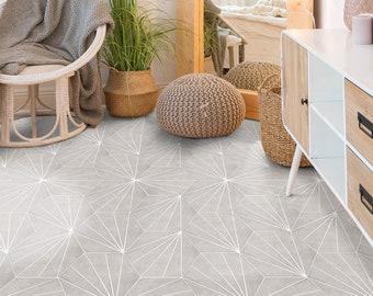 Water Lily Grey Hexagon Floor Tile Sticker Panel, Peel and Stick Decal, Vinyl Floor Tile Sticker, Floor decals, Carreaux de Ciment