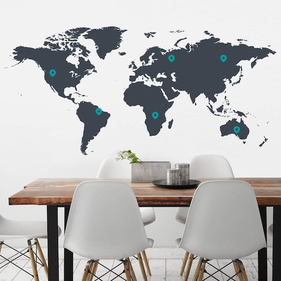 World Map Removable Wall Sticker.World Map And Pins Wall Decal Travel Map Drop Pin Wall Etsy