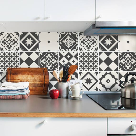 How To Create A Greyscale Bathroom: Grey Tile Decals Tile Stickers Set Geometric Traditional