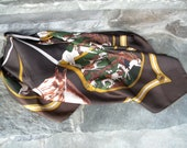 Vintage Horse Print Brown Square Scarf Equestrian Print Black Brown Gold Horses Horseback Riding Vintage Brown Scarf