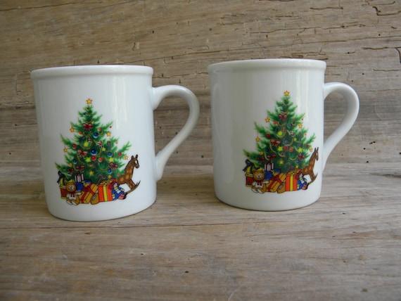 Coffee Christmas Morning.Christmas Morning Coffee Mugs By Papel Japan Set Of 2 Vintage Holiday Coffee Cups Christmas Tree Mugs