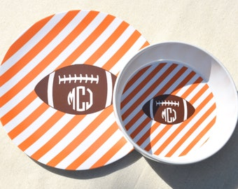 Personalized Melamine Plate + Bowl Set - Football