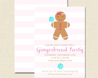 Gingerbread Cookie Party Invitations