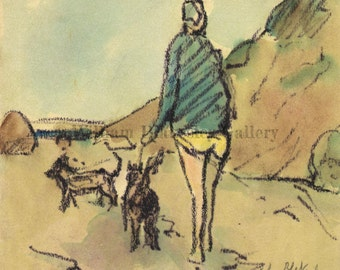 Beach Walk with Dogs - Original Watercolor