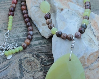 Olive jade, apple jasper & sterling silver necklace unique handmade jewelry