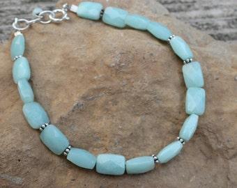 Handmade bracelet, Amazonite, sterling silver bracelet, unique handmade jewelry gemstone bracelet, amazonite bracelet, ladies bracelet