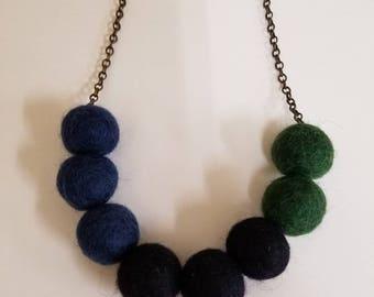 Cool Colors Felt Ball Necklace