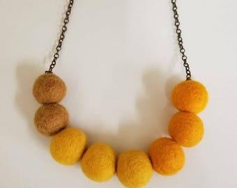 Yellow Felt Ball Necklace