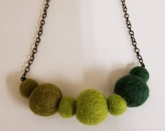 Green Felt Ball Necklace