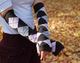 Stylish Multicolour: Grey, Pink, Dark Brown - Hand warmers, long fingerless gloves, wrist warmers, arm warmers, handwarmers.