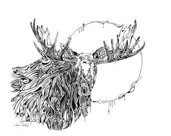 Moon moose drawing, bull moose, moose illustration, woodland animals, moose nursery art, wall decor, wildlife artwork, wildlife drawing