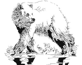 Grizzly bear drawing, bear artwork, wall decor, nursery bear illustration, bear line drawing, nature art, woodland animals, grizzly art