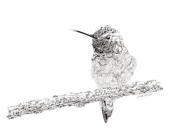 Hummingbird illustration, fine line artwork, black and white, hummingbird drawing, wildlife art, bird watching, bird artwork, nature drawing