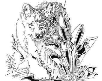 Wolf pup drawing, wolf illustration, wild wolf puppy, fine art print, wolf artwork, wolf wall decor, log cabin decor, wildlife art, animals