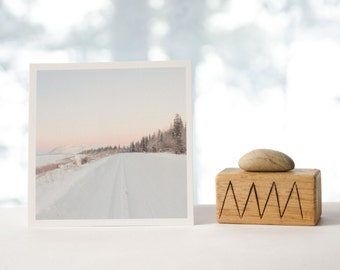 Fine art landscape photograph, textured matte square print, soft pastel photo, light pink sky nature print, mountain scenery photo