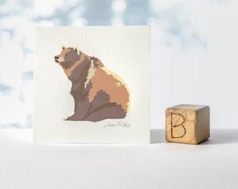 Grizzly bear illustration, woodland animal nursery art, wall decor, child art, bear drawing, 5x5 print of original drawing, nature artwork