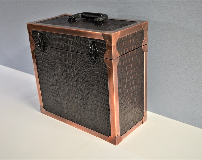 LP Record Storage,  Solid Wood Carry Case with Crocodile Leather and Copper Edging, #0244