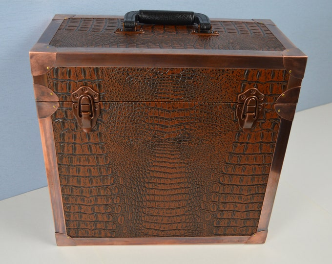 LP Record Storage,  Solid Wood Carry Case with Crocodile Leather and Copper Edging, #0195