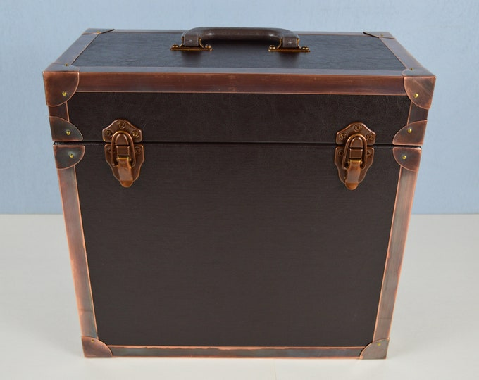 LP Record Carry Case, Solid Wood Box with Leather and Copper Protective Corners and Edging, #0179
