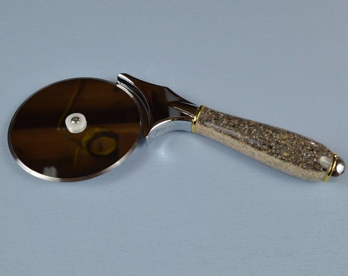 The Best Pizza Pie Cutter, Brown Speckle Handle, Heavy Duty Stainless, Large 4 inch Blade,#0241