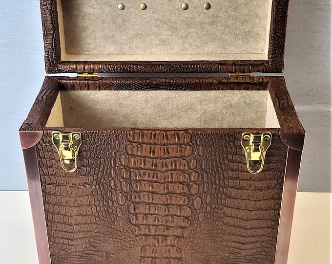 LP Record Storage,  Solid Wood Carry Case with Crocodile Leather and Copper Edging, #0262
