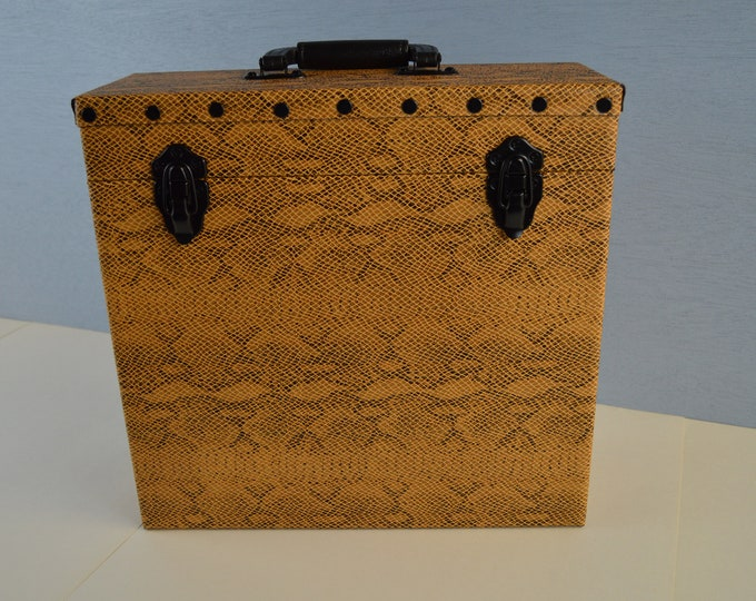 Handmade LP Record Carry Case for 12 Inch Vinyl Albums,  Solid Wood with Snake Leather  #0205