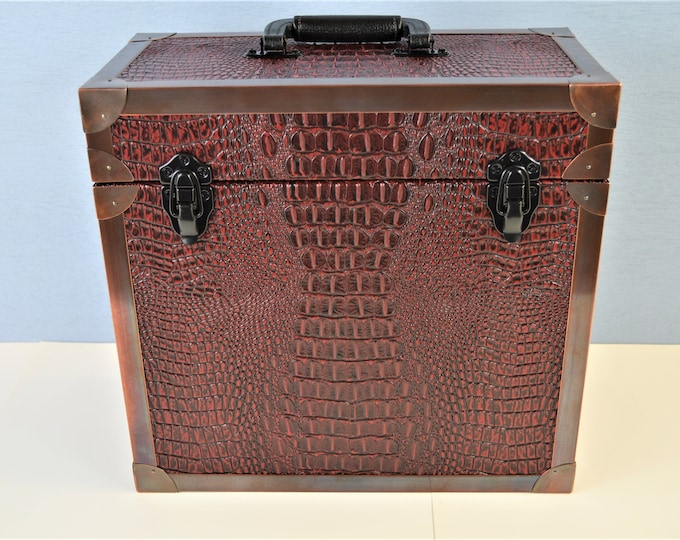 LP Record Storage,  Solid Wood Carry Case with Wine Crocodile Leather and Copper Edging, #0245