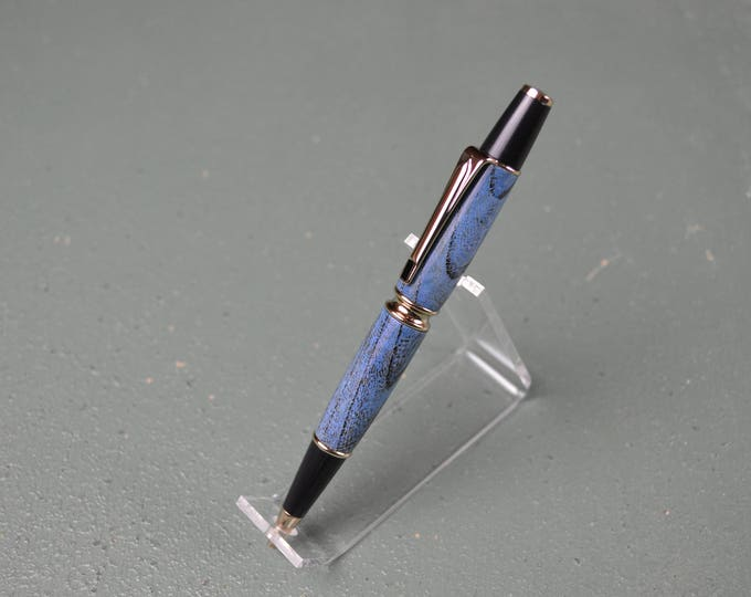 Blue Spalted Maple Pen, Gold Trim,   #0123