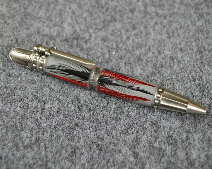 Knights Armor Feather Pen with Dime Center Band,  #0242