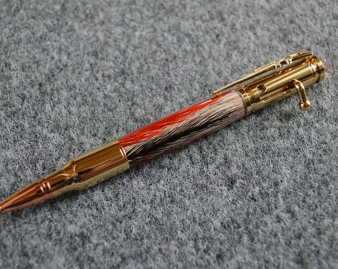 Bolt Action Feather pen with black and orange feathers