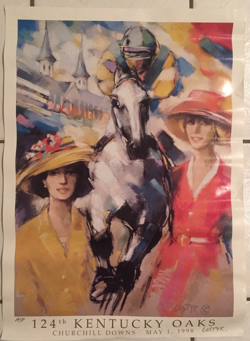 may 1998 20 x 28 Rare 124th Kentucky Oaks Horse Racing 2x Signed Artist Print by Lustyk at Churchill Downs