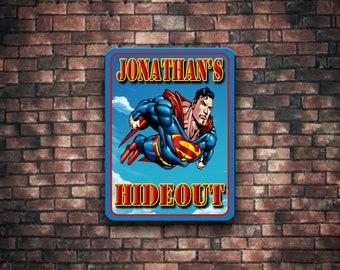 P376 boys hideout super heroes themed nursery art decor personalized name super hero bedroom brothers bedroom door sign
