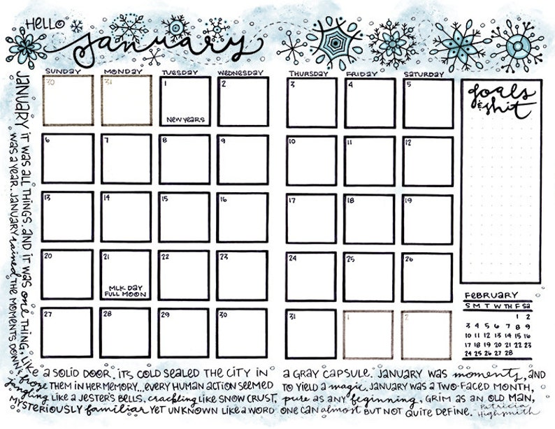 Calendar Says Its Winter But I Find >> January 2019 Winter Snowflakes Bullet Journal Or Planner Etsy