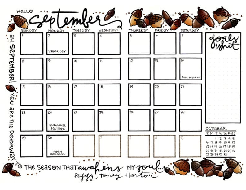 September 2019 Fall Acorns Bullet Journal or Planner Calendar and Coloring  Page Download