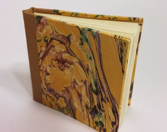 Small Yellow Marbled Blank Hand Bound Hardcover Book/Journal/Notebook/Sketchbook/Diary with Brown Bookcloth Spine