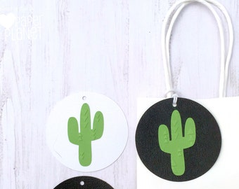 Green Cactus Gift Tags. Embossed favor tags. Swing Tags. Wild one, tribal, boho, baby shower, birthday party, wedding, engagment.